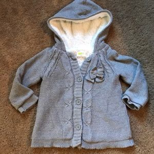 Crazy 8 Toddler faux fur lined sweater coat 3T